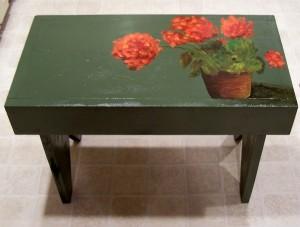 Geranium Bench, $75