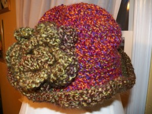 Hat in Two Colors with Rose
