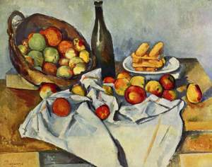 Cezanne, Still Life with Bottle and Apple Basker, 1894.
