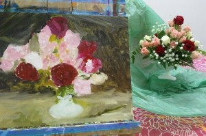 Step 3- Continue developing the flowers and work in a background