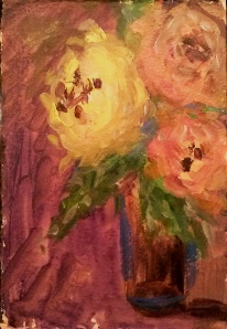 "Yellow & Peach Roses  acrylic on paper 7.5""x11"""