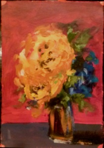 "Yellow Rose IX acrylic on paper 7.5""x11"""