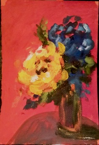 "Yellow Rose V acrylic on paper 7.5""x11"""