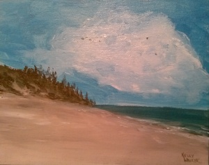"A Beach Scene oil on canvas, 8""x10"" SALE PRICE:  $20"