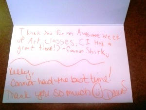 A really nice thank you note