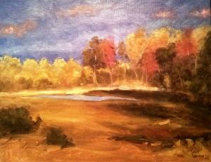 "Autumn Glow oil on canvas,  14""x18"" SALE PRICE:  $45"
