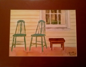 "Chairs on the Porch Watercolor, Matted, 11""x14"" SALE PRICE - $25"