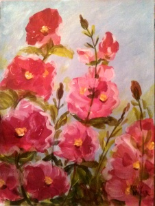 "Hollyhocks II Acrylic on Canvas, 9""x12"" SALE PRICE - $20"
