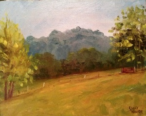 "Red Gate in Plein Air oil on canvas, 8""x10"" SALE PRICE:  $20"