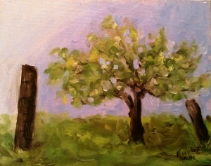 "Spring Apple Tree at Twin Mountain oil on canvas, 8""x10"" SALE PRICE - $20"