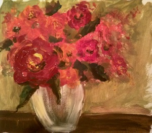 "Still Life with Roses I Acrylic on Watercolor Paper, 10.5""x12"" SALE PRICE:  $15"