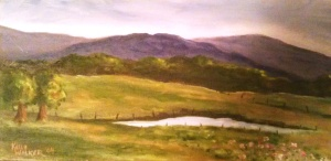 """Summer In the Valley oil on canvas,  8""""x16"""" SALE PRICE:  $45"""