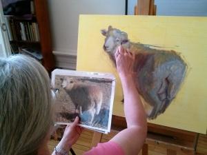 Nancy demonstrating a full body painting - Sheep