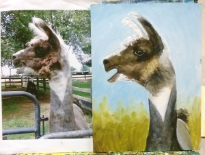 Llama painting with reference photo