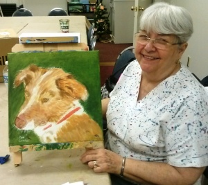Pat with her painting