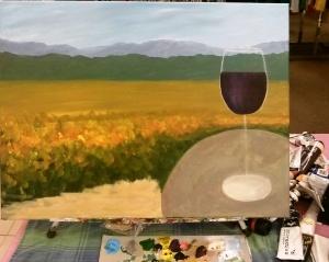 Adding the wine