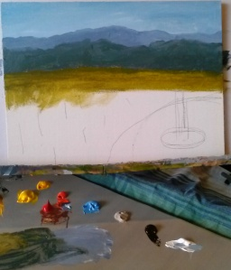 Step 2 - Adding distance with mountains and meadow