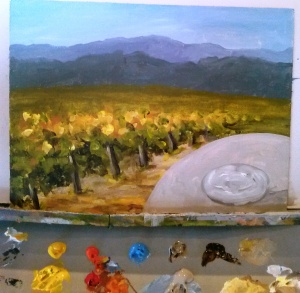 Step 4 - Adding the foreground - a table and glass