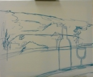 WInding Road Cellars painting - Step one - sketch