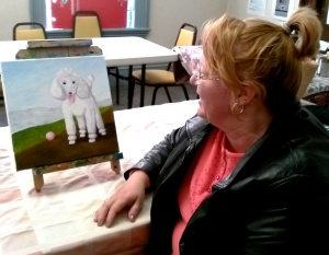 Cathy with her Poodle painting