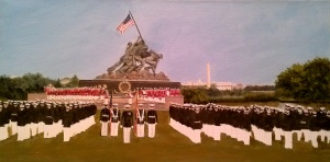 Marine Corps Monument with foreground laid in - no details
