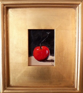 """Cherry"", acrylic, 3""x4"" (framed size 9""x10""), $49"
