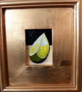 """""""Lime"""", acrylic, 3""""x4"""" (framed size 9""""x10""""), $49"""