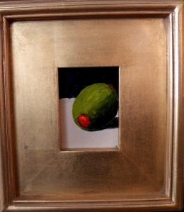 """Olive"", acrylic, 3""x4"" (framed size 9""x10""), $49"