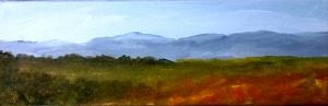 "Panoramic Mountain View I, acrylic, 4""x12"", $80"