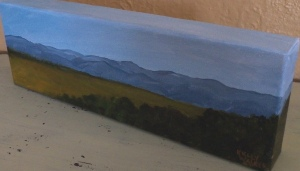 "Panoramic Mountain View II, acrylic, Gallery Wrap 4""x12"" canvas, $80"