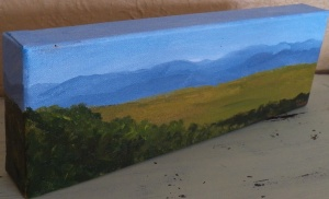 "Panoramic Mountain View III, acrylic, Gallery Wrap 4""x12"" canvas, $80"