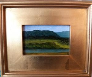 """Signal Knob I"", acrylic on canvas, 4""x6"", (11.5""x 9.5"" framed size), $95"
