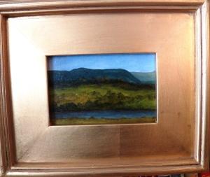 """Signal Knob II"", acrylic on canvas, 4""x6"", (11.5""x 9.5"" framed size), $95"