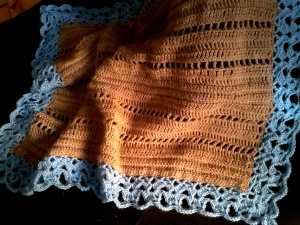 Crochet baby blanket- light brown with blue border
