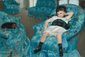 Mary Cassatt's Little Girl in a Blue Armchair, 1878