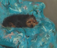 "Close-up of dog in Cassatt's ""Little Girl in a Blue Armchair"""