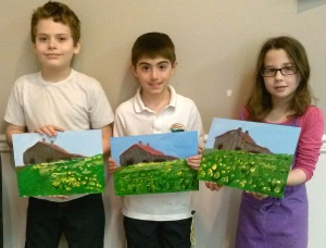 Kids Paint Landscape with Old Barn