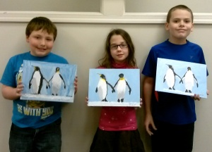 Kids Paint Penguins