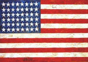 """Flag"", oil and collage on fabric mounted on plywood, 1954-55 by Jasper Johns"