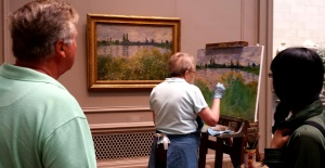 "Copyist at the National Gallery working on a ""Monet"""