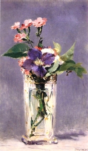 "Edouard Manet (1832-1883) ""Pinks and Clematis in a Crystal Vase""   oil on canvas  22"" x 14""   Musée d'Orsay, Paris, France"