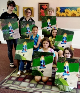 Art Camp Week 1 copy of Renoir's Girl with Watering Can