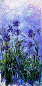 """Claude Monet, (1840-1926) """"Lilac Irises"""" oil on canvas  32""""x36"""" Painted in 1914-17 Private Collection"""