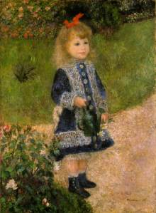 """Pierre-Auguste Renoir, (1841-1919) """"Girl with a Watering Can""""  oil on canvas  41""""x29"""" Painted in 1876 National Gallery of Art, Washington DC"""
