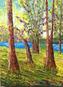 Norman artist Tim Kenney painted this landscape in Louisiana. Kenney is painting 50 canvases in 50 states in 50 days.