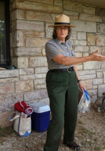 Betty Gatewood, Park Ranger, explains the schedule