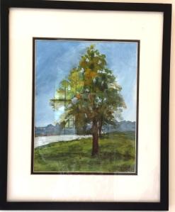 """Lone Tree"", 16""x20"" framed, gouache SALE PRICE $75"
