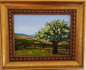 """View of Sky Meadows Park"", 8""x10"" oil on canvas, framed SALE PRICE $125"