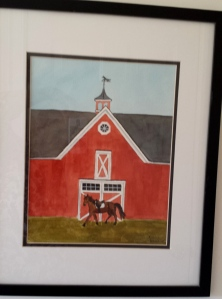 """The Red Barn"", 16""x20"" framed, watercolor SALE PRICE $85"