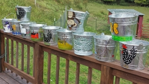 Another view of all the painted buckets